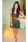Green-zara-dress-brown-zara-belt-beige-christian-louboutin-shoes