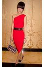 Red-body-soul-dress-black-zara-belt-black-christian-louboutin-shoes-silv