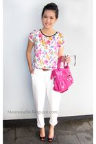 white Zara pants - black Christian Louboutin shoes - pink balenciaga purse