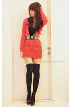 orange Topshop sweater - black Forever 21 belt - black Forever 21 socks - black