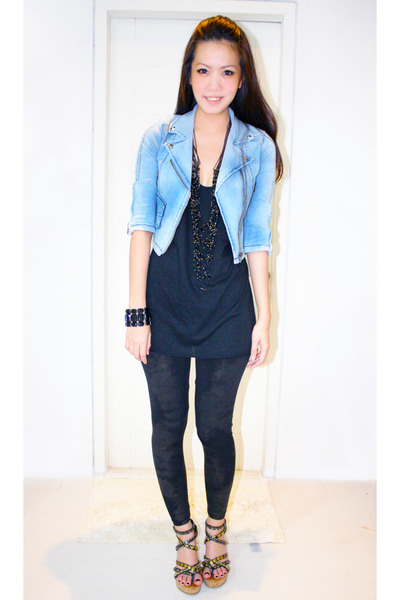 blue Kochi jacket - black Zara top - black Mango leggings - black Steve Madden s
