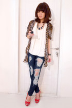 navy Siwy jeans - brown Zara shirt - ivory Zara top