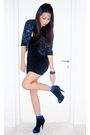 Black-forever-21-dress-black-topshop-jacket-black-aldo-shoes-blue-socks-