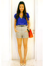 Blue-forever21-top-gray-zara-pants-beige-christian-louboutin-shoes-orange-
