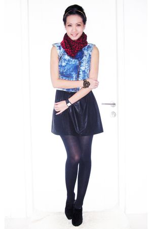 blue Kochi vest - red Topshop scarf - black Monaco dress - black Topshop stockin