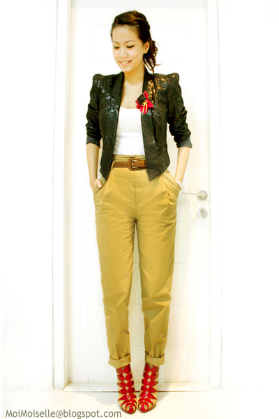 black River Island blazer - white Topshop top - brown Zara pants - purple Christ