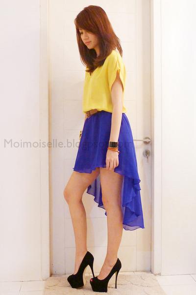 MoiMoiselle skirt - silk Mango top - Giuseppe Zanotti heels