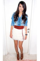 brown Zara belt - brown Forever21 shoes - blue Zara shirt - white Zara skirt