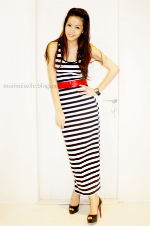 white Forever 21 dress - red Forever 21 belt - black Christian Louboutin shoes
