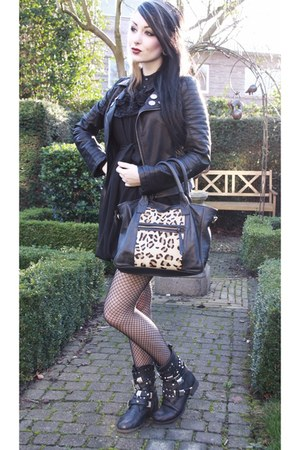 boots - dress - jacket - bag
