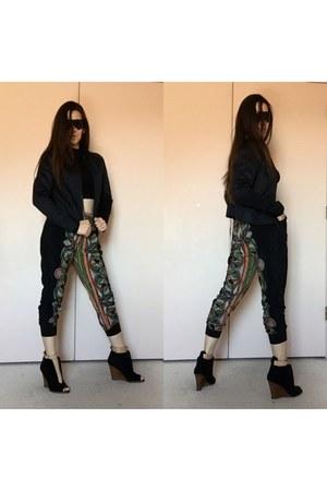black croc embossed nike jacket - black printed jogger pants - black wedges