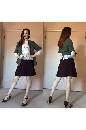 army green thrifted shirt - crimson a line skirt - white top