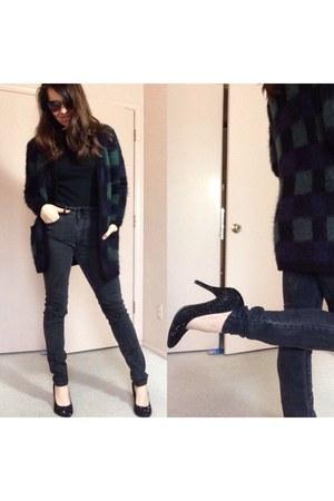 dark gray jeans - black black studs pumps - black plaid cardigan