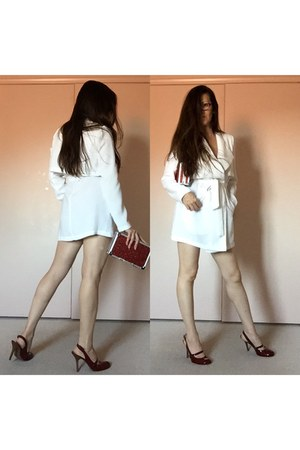 white dress - ruby red bag - ruby red heels