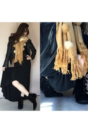 black boots - black backless maxi thrifted dress - black asos jacket