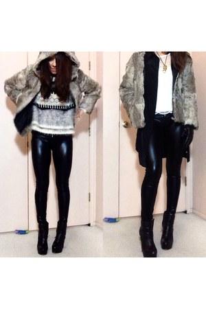 hoodie fur vintage jacket - black Dolce Vita boots