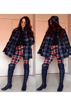 navy thrifted vintage coat - ruby red knit plaid leggings