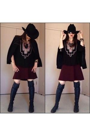 navy boots - black apostrophe thrifted blazer - black oakley m frame sunglasses