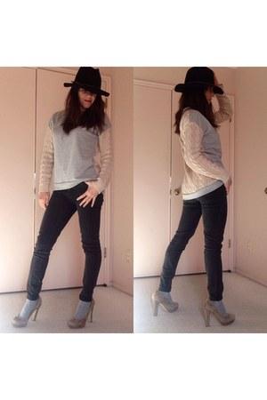 black jeans - black fedora hat - beige sweater - heather gray knee high socks