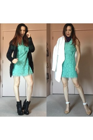 black strappy ankle Dolce Vita boots - aquamarine BCBG dress - white trench coat
