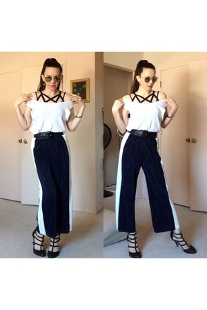 black cage heels - cream mirrored sunglasses - white thrifted top - black top