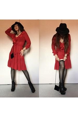 black Dolce Vita boots - red ruffled sheer vintage dress - black fedora hat