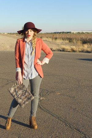 JCPenney hat - grey Forever 21 jeans - orange Forever 21 blazer