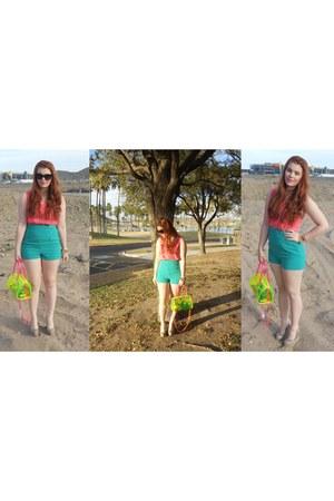 clear neon Forever21 bag - studded orange Forever 21 shirt - Forever 21 shorts