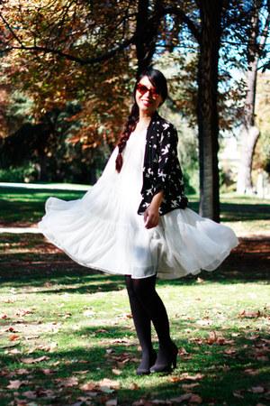 white H&M dress - black asos cardigan - crimson vintage from Ebay glasses