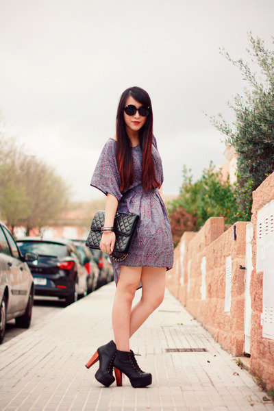 7b0e295b2929 light purple Sugarlips dress - black Jeffrey Campbell boots - black Chanel  bag