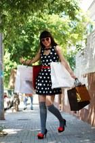 black bought in Shanghai heels - navy BLANCO dress - silver condor socks