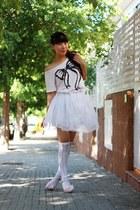 light pink New Yorker shirt - white condor socks - white Momo House skirt - ligh