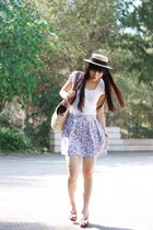 cream Alice et June hat - white amichi shirt - amethyst amichi skirt - purple Ma
