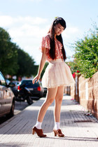 salmon asos blouse - ivory Bershka skirt - burnt orange Bershka heels