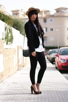 mustard Alice et June hat - black Zara leggings - black Zara blazer - white Pull