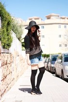 black Momo House hat - blue H&M shorts - black Calzedonia socks - black Bought i