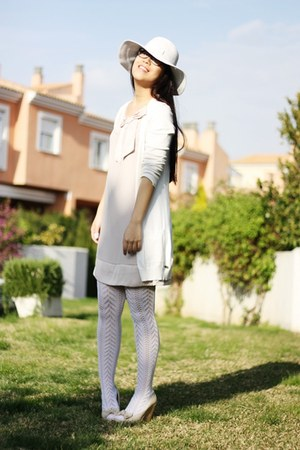 cream H&M dress - white Momo House hat - white condor socks - white amichi cardi