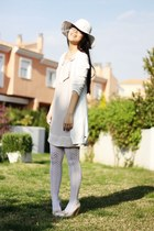 cream H&M dress - white Momo House hat - white condor socks - white amichi cardi