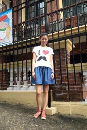 Zara shirt - denim J Crew skirt - pink Zara sandals