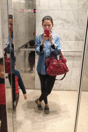 studded denim shirt - ruby red balenciaga bag - black and white Repetto flats