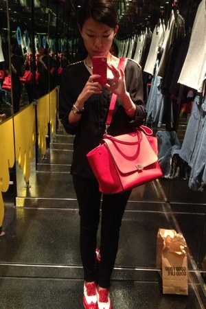 red Church shoes - red trapeze Celine bag - black black unknown brand blouse