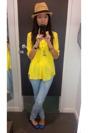 straw H&M hat - light blue Zara jeans - royal blue Zara flats