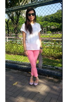 American Apparel purse - pink and white Angeline Lee flats