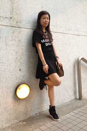 black Romwecom shirt - black Topshop skirt - black hidden heels ASH sneakers