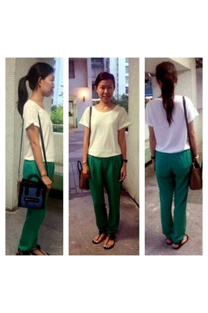 green Topshop pants - blue mini luggage Celine bag