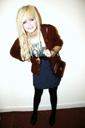 brown vintage bag - white Topshop top - navy vintage skirt - brown vintage cardi
