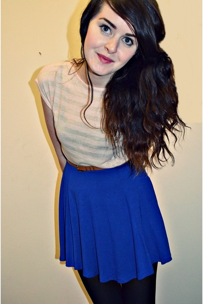 blue Primark skirt - pink striped vintage jumper