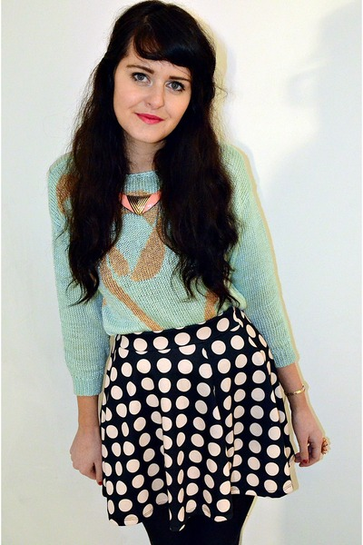 black polka dot Primark skirt - light blue vintage jumper
