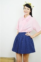 navy polka dot Primark skirt - light pink cut out vintage blouse