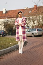 white PresKA dress - red checked Zara coat - white asymmetrical Zara heels
